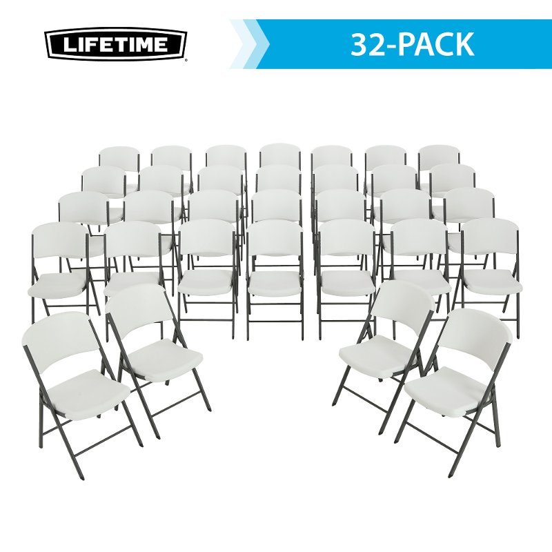 Lifetime Products White 32 Pack Heavy Duty Folding Chairs
