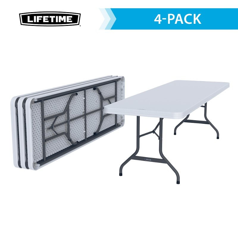 Lifetime products white 4 pack 8 ft folding banquet tables for 10 foot banquet table