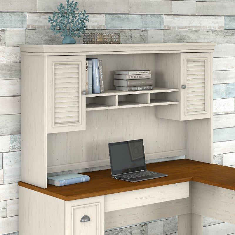 Antique White L Shaped Desk Hutch - Fairview