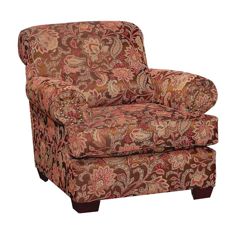 Southport 40 Inch Brown Floral Upholstered Accent Chair