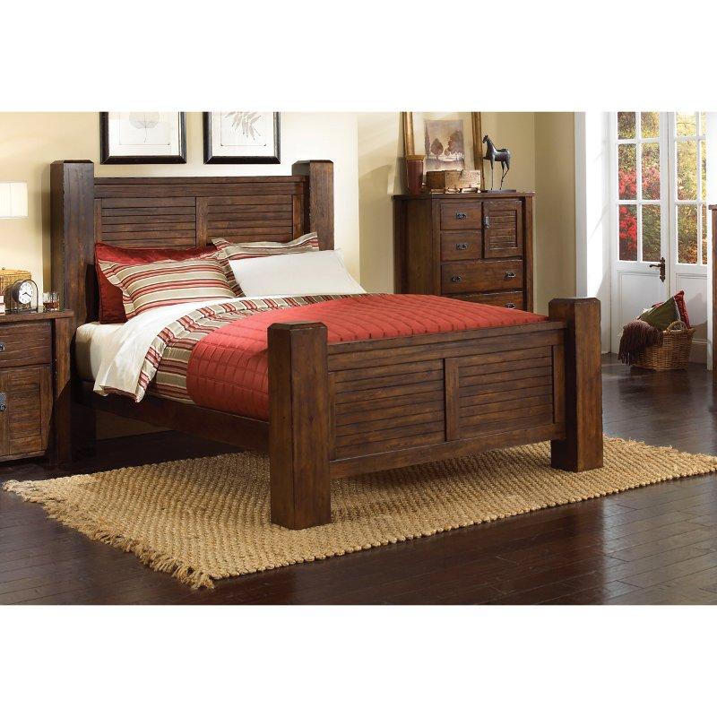 Casual Rustic Dark Pine Queen Bed - Trestlewood