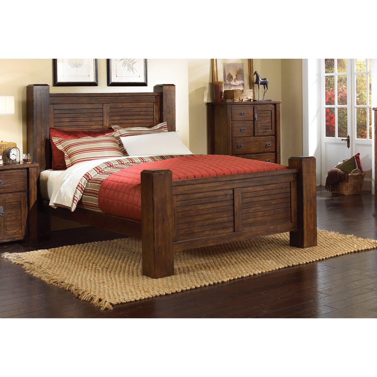 Dark pine 6 piece queen bedroom set trestlewood rc for Bedroom 6 piece set