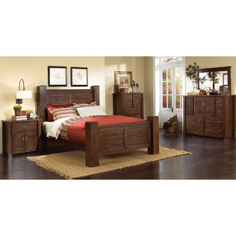 Willey Furniture: Dark Pine 4 Piece Queen Bedroom Set - Trestlewood