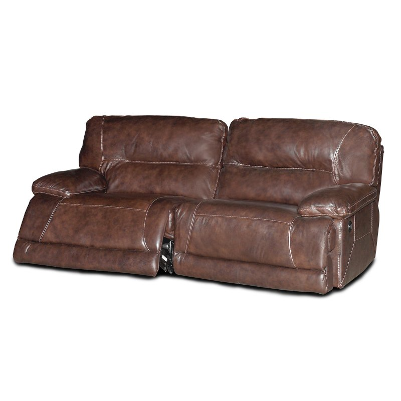 Dark Brown Leather-Match Power Reclining Sofa - Dylan
