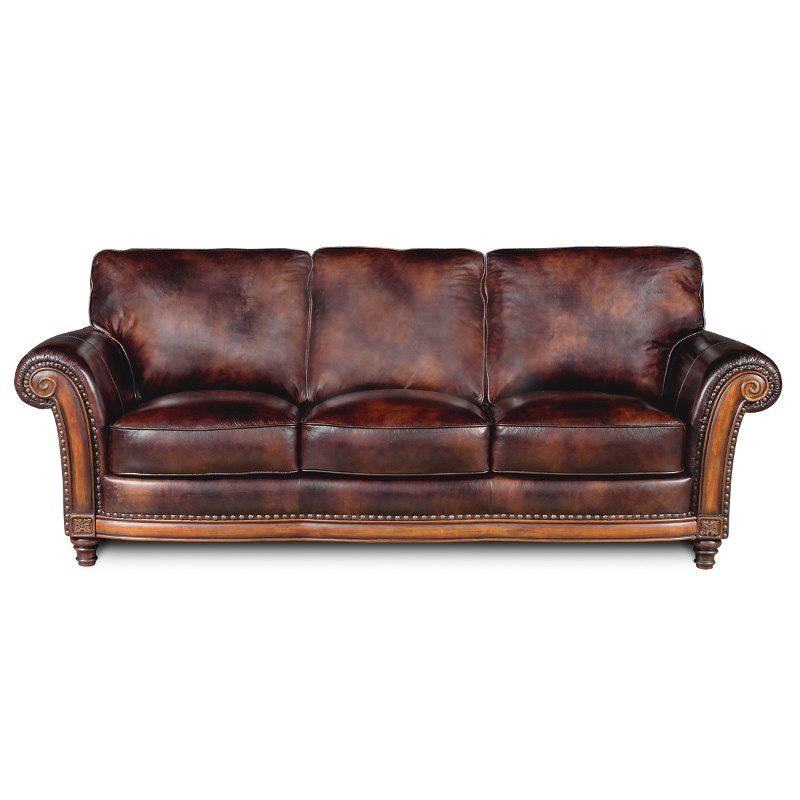 Classic Traditional Brown Leather Sofa Toberlone Rc