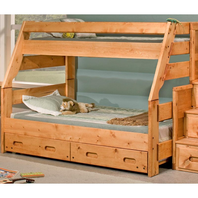 Cinnamon Rustic Pine Twin-over-Full Bunk Bed with Trundle - Palomino