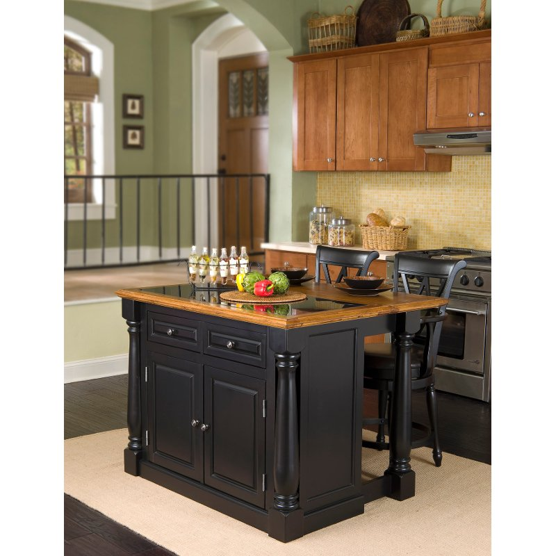 Monarch Black Oak Kitchen Island With Granite Insert Top Stools Rcwilley Image1