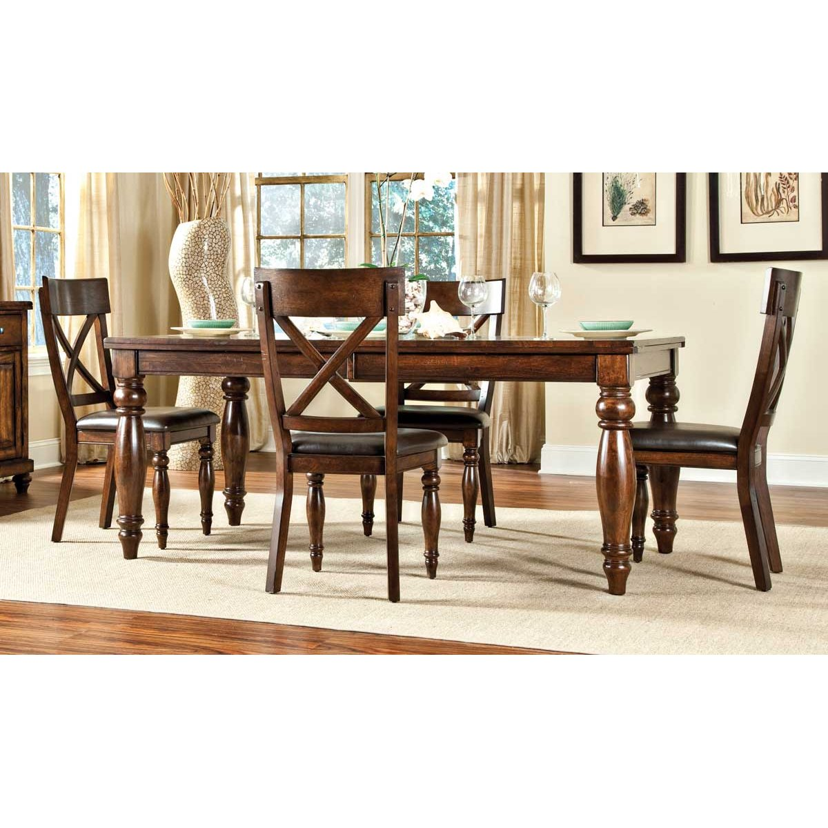 Brown 9 Piece Dining Set with X Back Chairs   Kingston