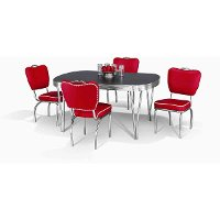 5PCRETRO-RED-DINING Chromcraft 5-Piece Dining Set