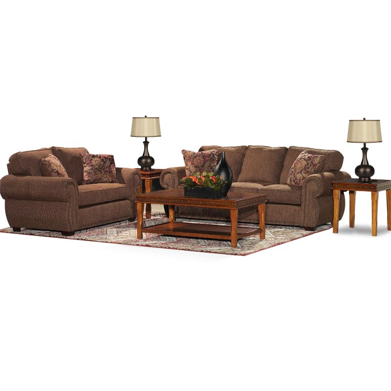 Spice upholstered 7 piece room group for 7 piece living room set with tv