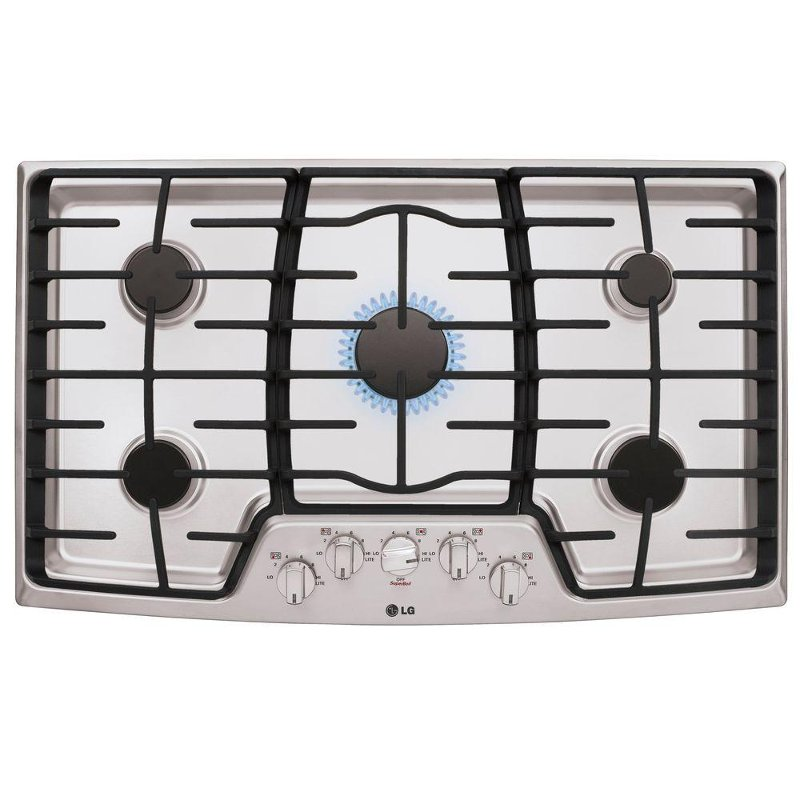 Lcg3611st Lg 36 Inch 5 Burner Gas Cooktop Stainless Steel