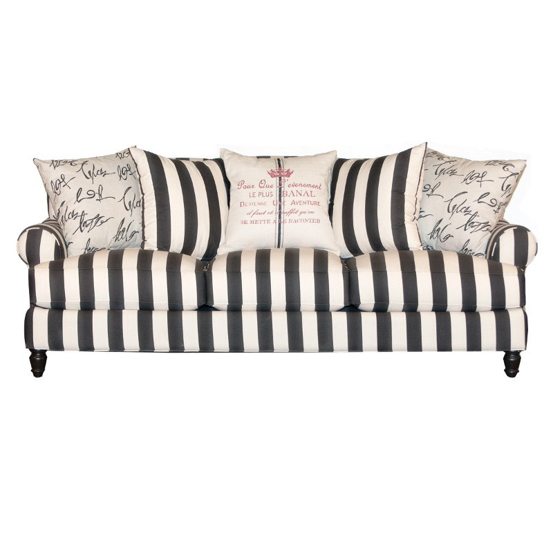 94 inch black and white stripe upholstered sofa rc willey furniture store. Black Bedroom Furniture Sets. Home Design Ideas