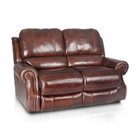Brown Leather-Match Reclining Loveseat - Madison Collection