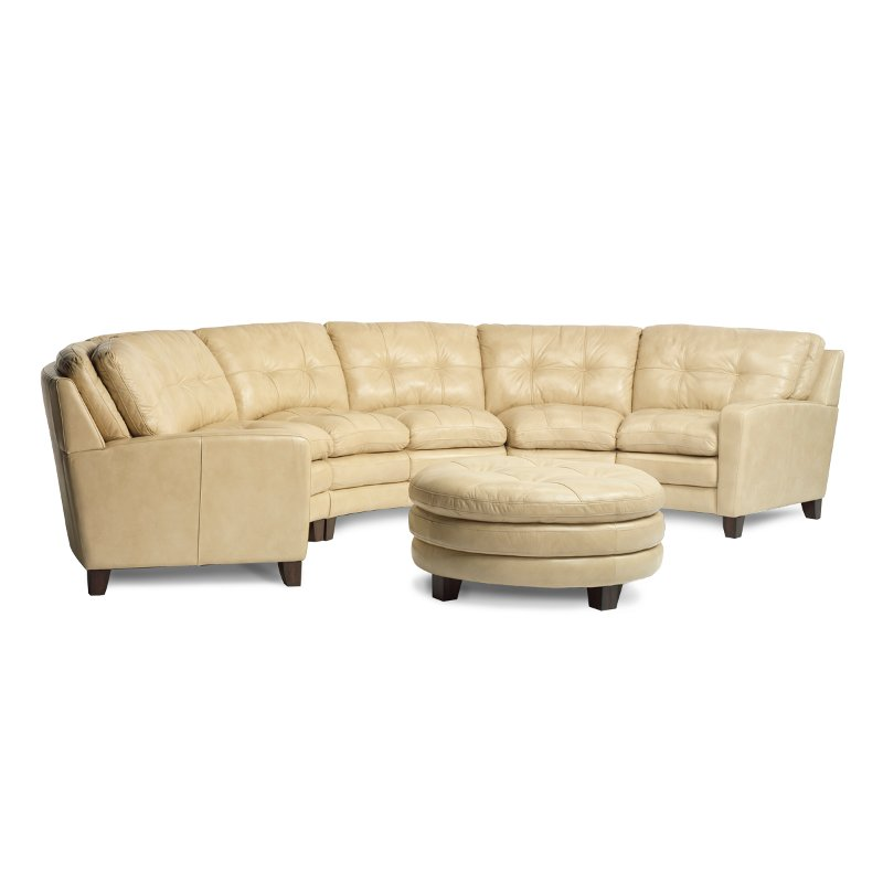 3 Piece Parchment Leather Sectional Rc Willey Furniture
