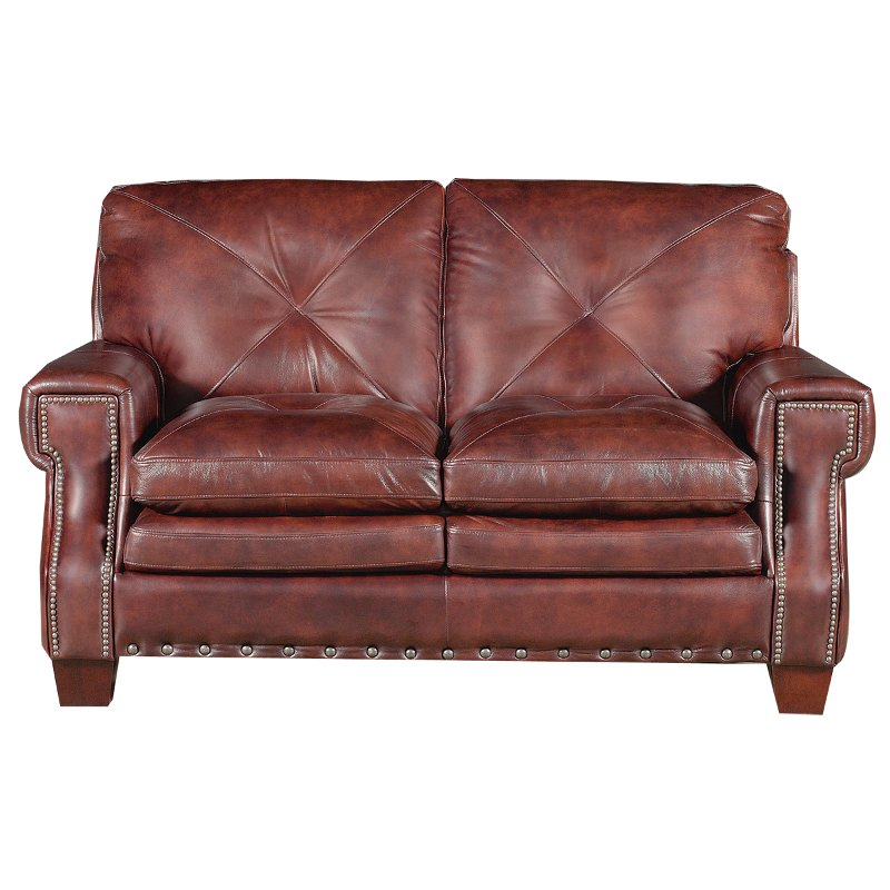 Mckinney 65 burgundy leather loveseat Burgundy leather loveseat