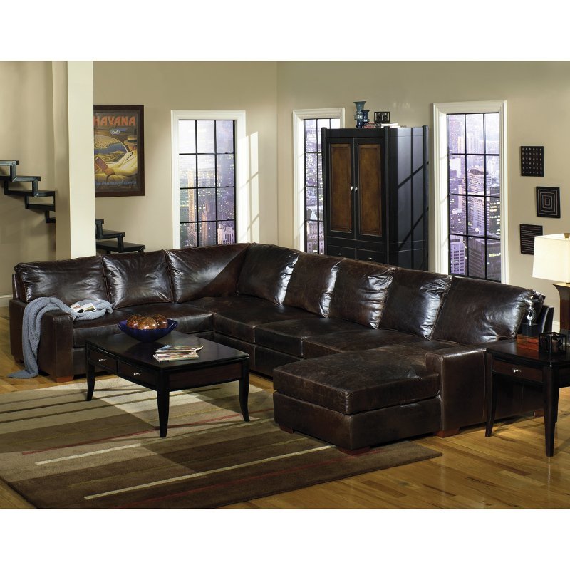 Brompton 3 piece dark tobacco leather sectional for 3 piece brown leather sectional sofa
