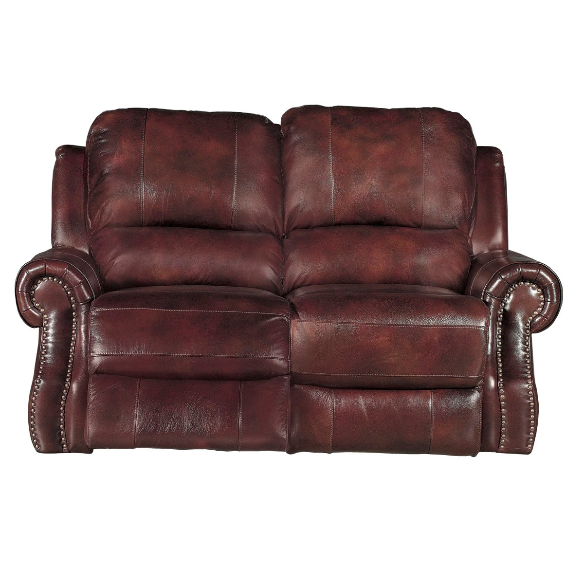 Madison 69 burgundy leather match power reclining loveseat Burgundy leather loveseat