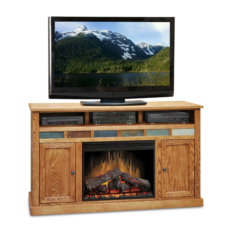 62 Inch Oak Fireplace And Tv Stand Oak Creek Rc Willey Furniture