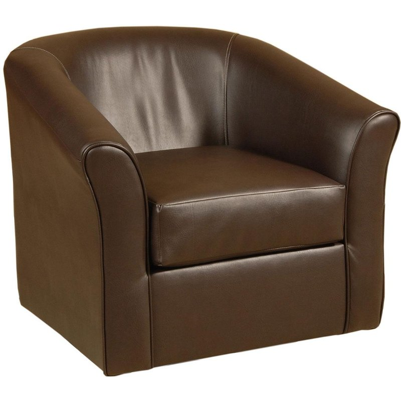 Sanmarino 31 chocolate upholstered swivel chair for Swivel chairs living room upholstered