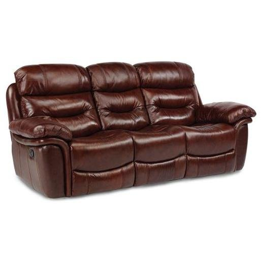 Leather Furniture Traveler Collection: Brown Leather-Match Power Recliner Sofa