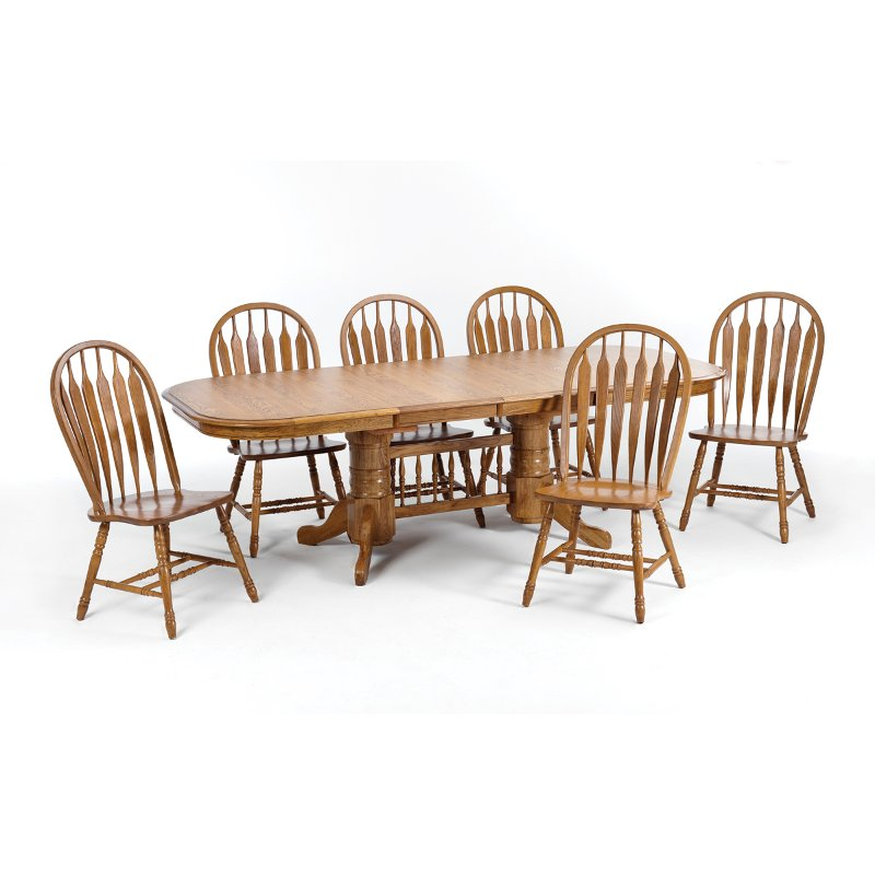 Oak 5 Piece Dining Set - Country Classic Chestnut Collection   RC ...