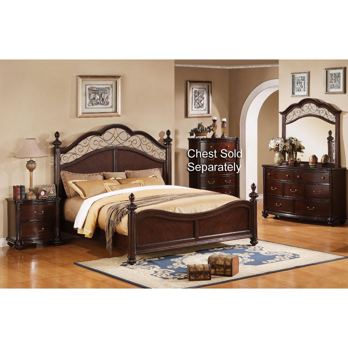 Derbyshire international furniture 6 piece queen bedroom set for Furniture queen bedroom sets