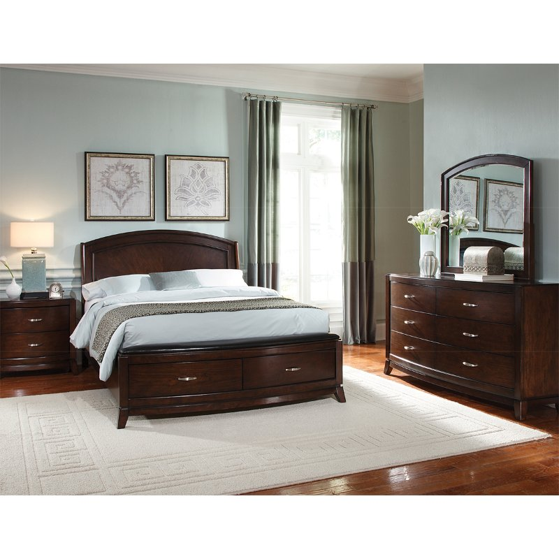 Contemporary Brown 4 Piece Queen Bedroom Set Avalon Rc Willey Furniture Store