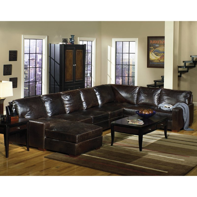 Willey Furniture: Brompton Tobacco 3 Piece Leather Sectional