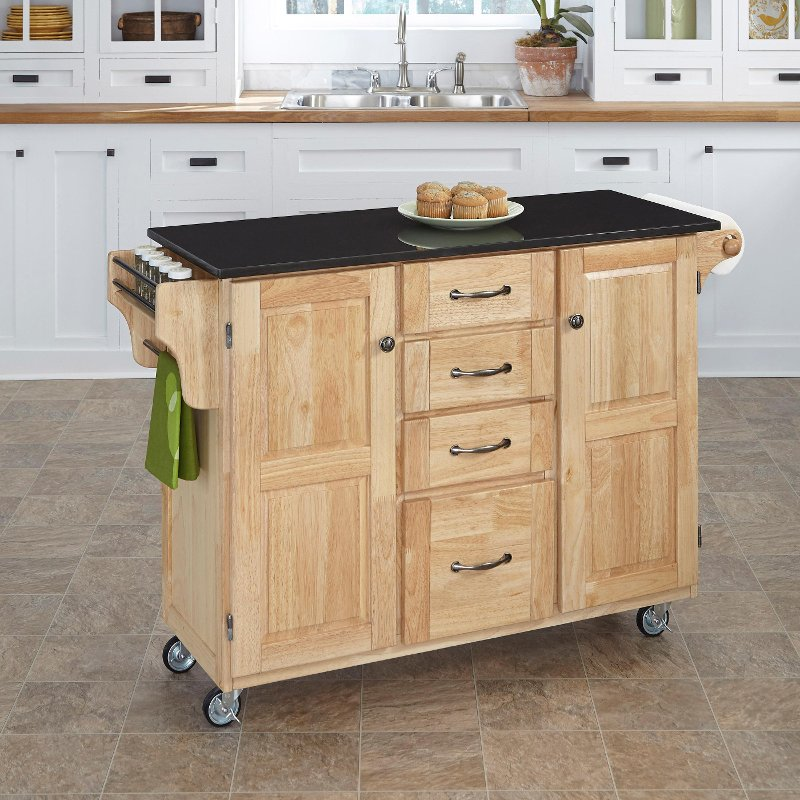 Natural Finish Black Granite Top Kitchen Cart Create A Cart