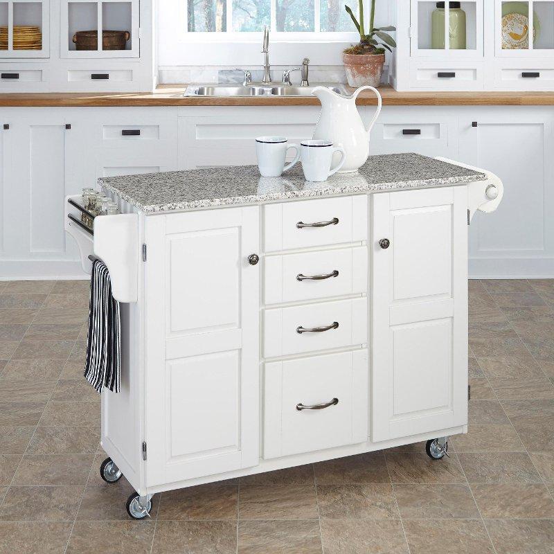 White Finish SP Granite Top Kitchen Cart - Create-a-Cart