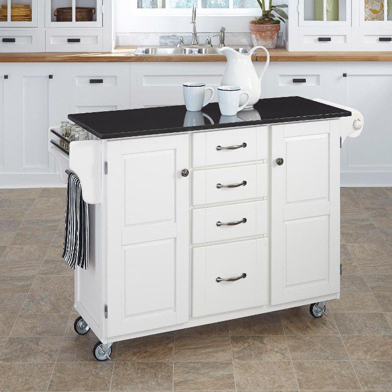 White Black Granite Kitchen Cart