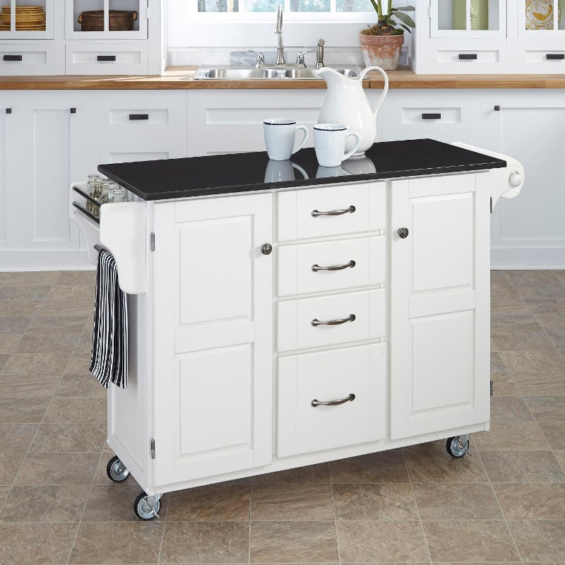 White Finish Black Granite Top Kitchen Cart Create A Cart