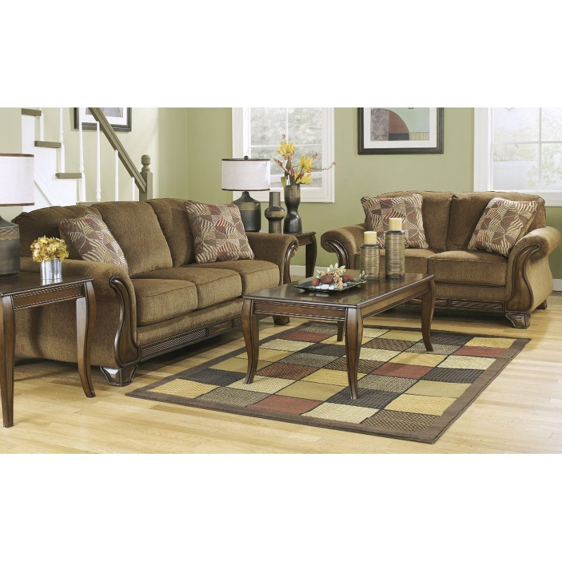 Traditional Mocha Brown 2 Piece Living Room Set Montgomery