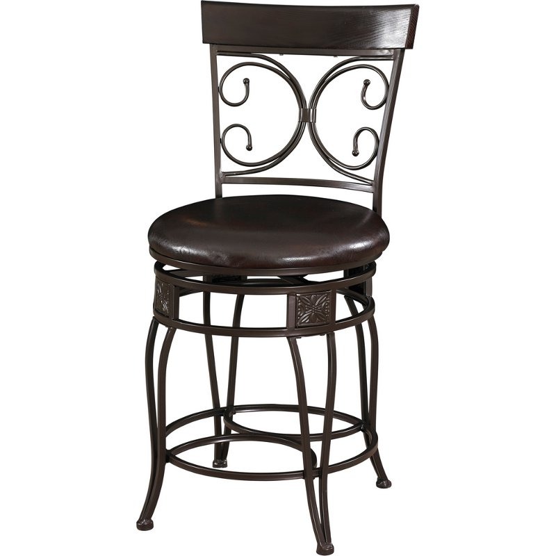 Metal Brown Swivel Seat Counter Height Stool Rc Willey