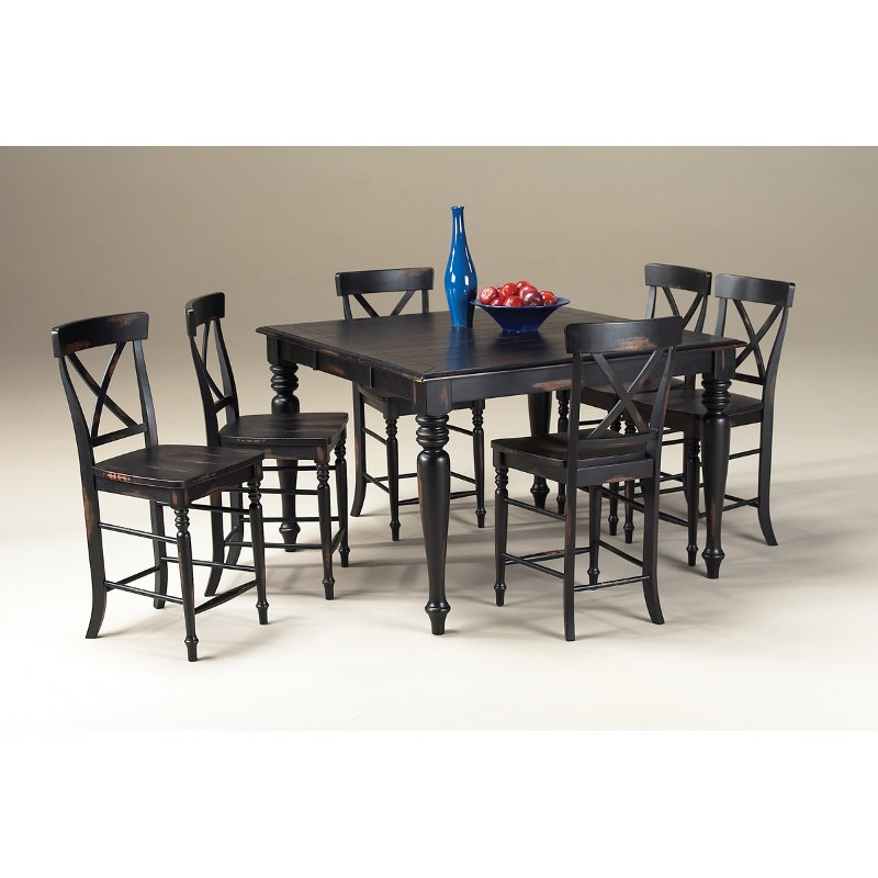 Counter Height Dining Sets 5 Piece : Roanoke Rubbed Black Counter Height 5-Piece Dining Set