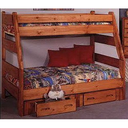 Cinnamon Rustic Pine Twin Over Full Bunk Bed With Drawers Palomino Rc Willey Furniture Store