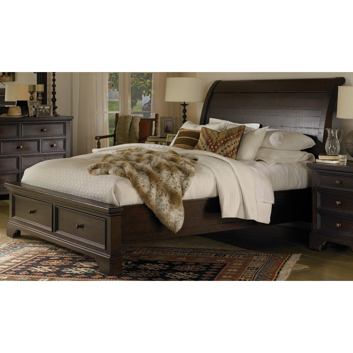 Bayfield mahogany queen storage bed for Bedroom furniture queen storage bed
