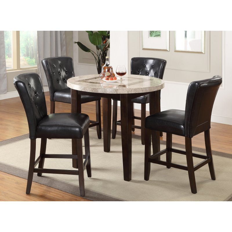 Dark Espresso And Marble Pub Round Dining Table Montreal Rc
