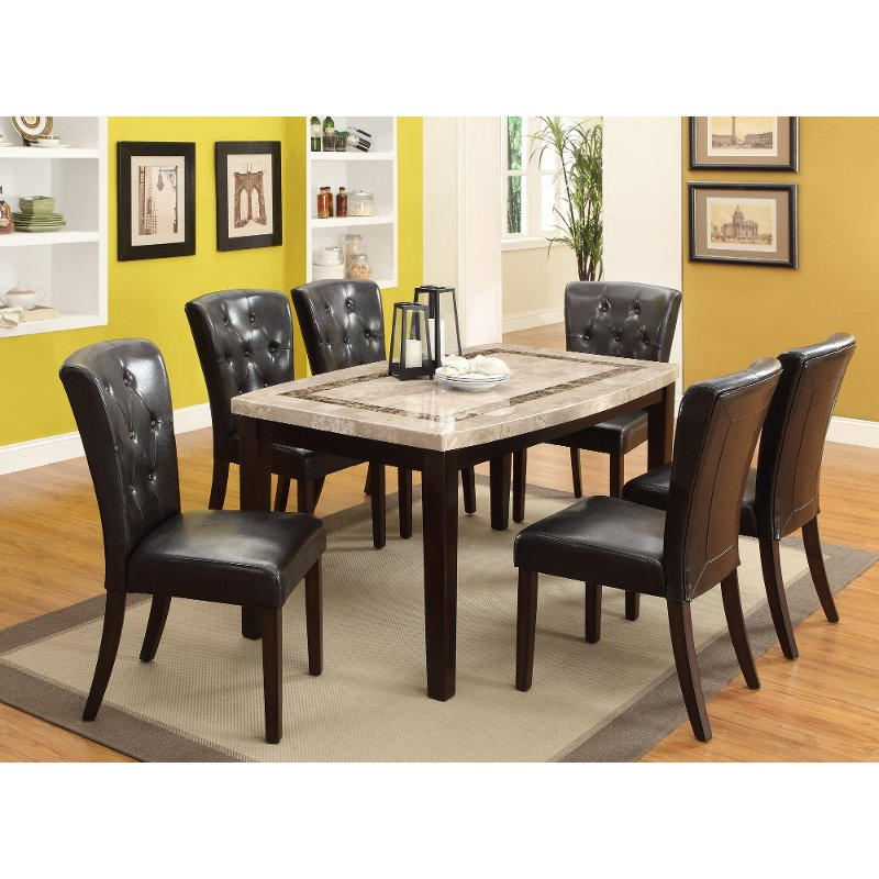 Delightful Marble And Espresso 5 Piece Dining Set   Montreal