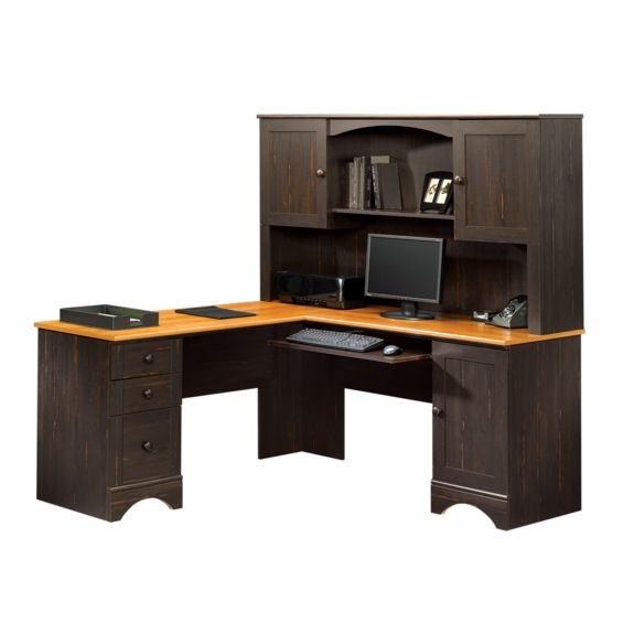 hutch with sauder ip oak finish carolina hills desk computer orchard
