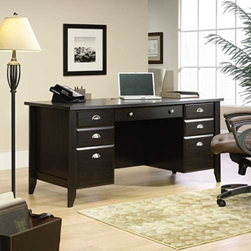Traditional Dark Brown Executive Office Desk   Shoal Creek