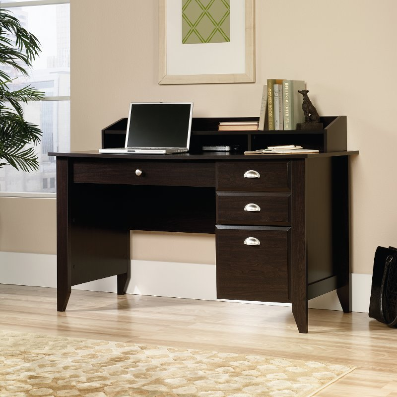 Traditional Dark Brown Office Desk Shoal Creek Rc Willey Furniture