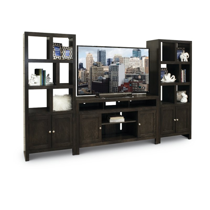 charcoal black 3 piece modern entertainment center del mar rc willey furniture store. Black Bedroom Furniture Sets. Home Design Ideas