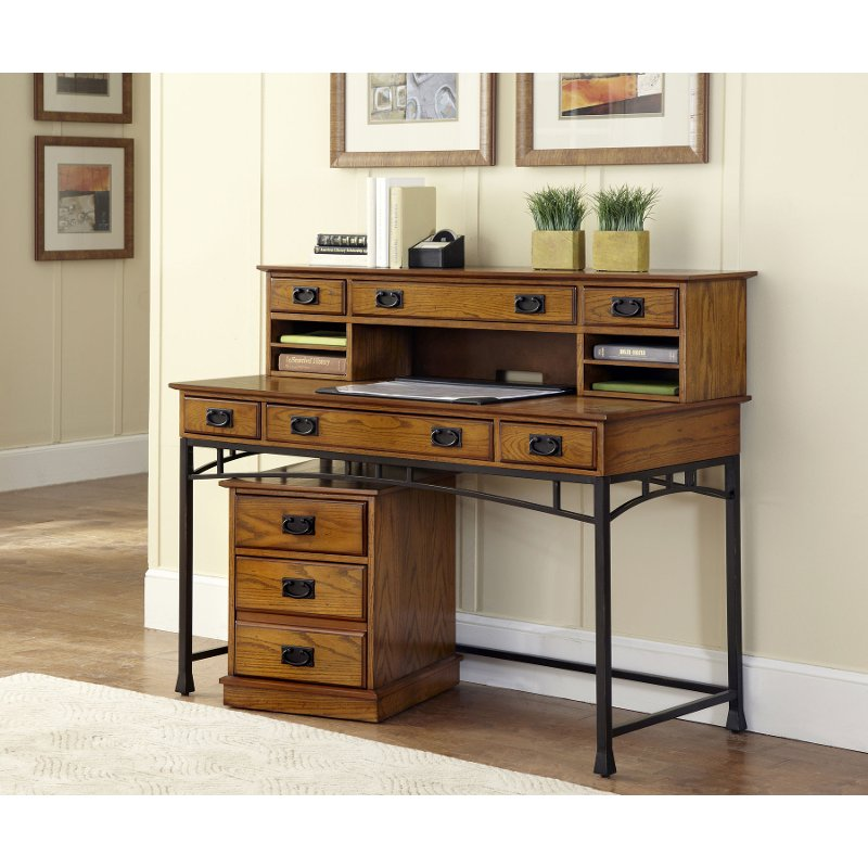 Modern craftsman home styles desk hutch and mobile file - New contemporary home office furniture style ...