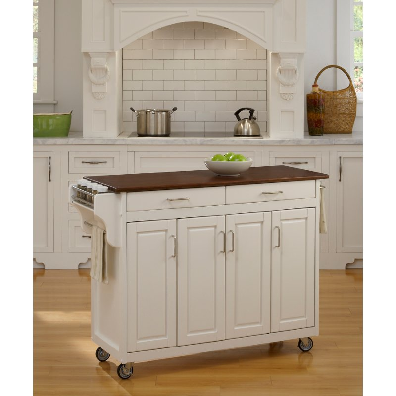 White Finish With Cherry Top Kitchen Cart Create A