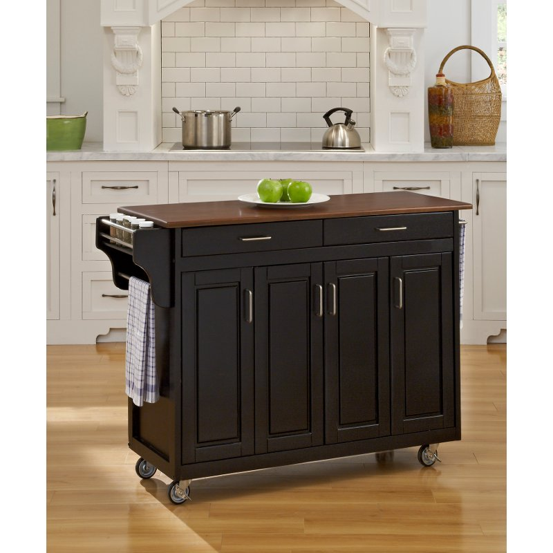 Black Finish with Cherry Top Kitchen Cart - Create-A-Cart