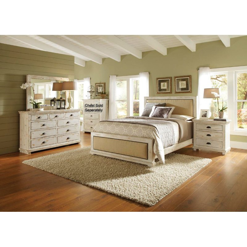willow white 6 piece cal king bedroom set