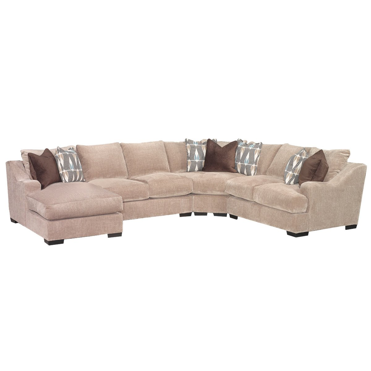 Brown Casual Clic 4 Piece Sectional Sofa Monarch