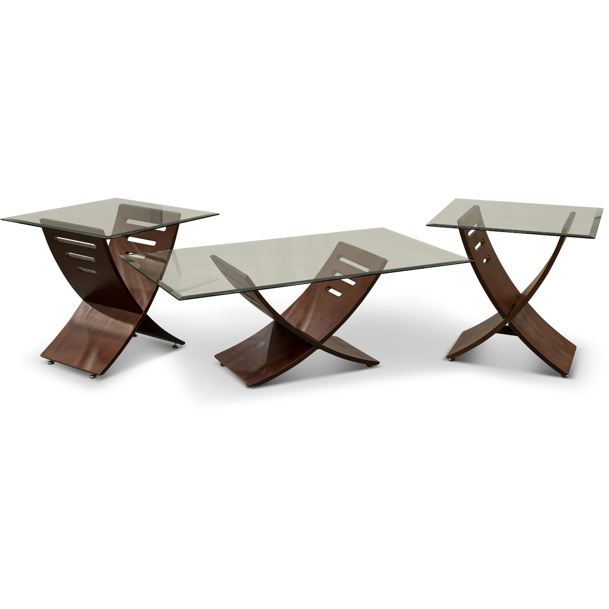 Espresso brown and glass 3 piece coffee table set rc willey furniture store