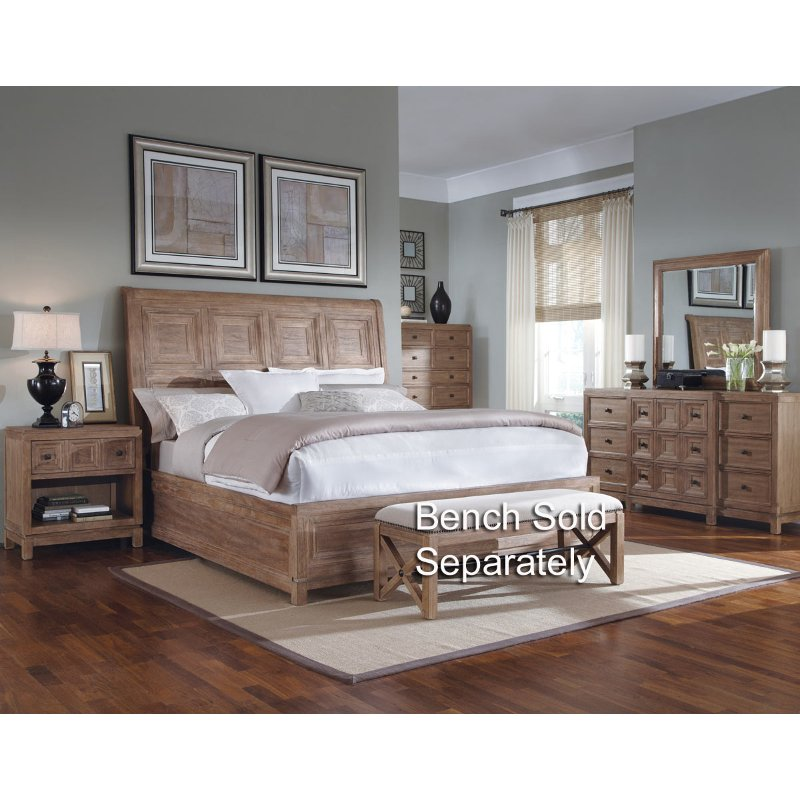 Ventura white oak 6 piece queen bedroom set for White queen bedroom set
